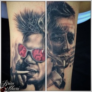 Tattoos by Brian Ulibarri Portrait of Fight Club, Brad Pitt, Edward Norton
